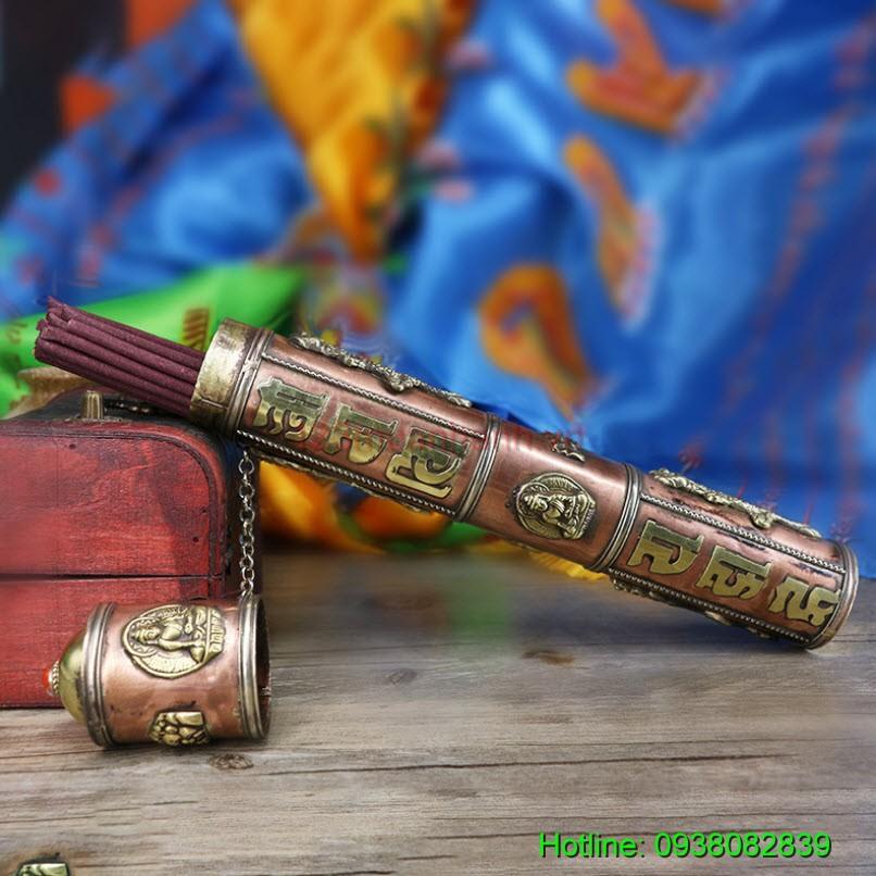 Ống đựng nhang khắc Om Mani, hình Phật và rồng