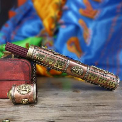Ống đựng nhang khắc Om Mani, hình Phật và rồng OMN1178